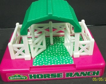 1997 Saddle Up Buckets Horse Ranch Mini  Horses Pink and Green With White Corral Fencing No Horses Moose Mountain Toymakers