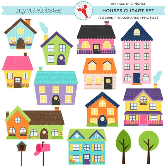 112 Best Images About House Painting On Pinterest: Häuser Clipart-Set Clip Art Set Helle Häuser Niedliche