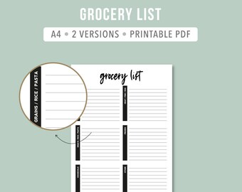 PRINTABLE Minimalistic grocery list PDF Intentional grocery list Printable grocery shopping list Grocery planning Meal planner A4