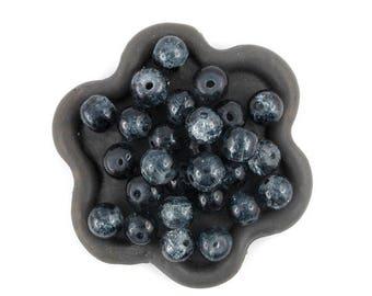 x 50 Crackle glass bead transparent black 6mm (60)