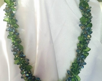 Kumihimo Necklace in Blues and Greens - Crystals & Beads