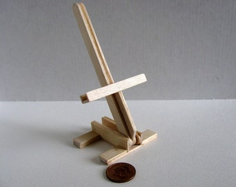 Miniature Foldable Dollhouse Artist Easel / 1:12 Scale Doll House Easel / Handmade with Unfinished Birch / MADE to ORDER