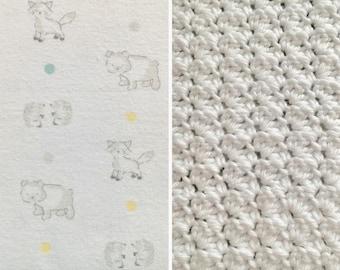 Woodland-Blanket-Hedgehog-Fox-Bear-Teal-Yellow-Taupe-White-Minky-Crochet Blanket-Burp Cloths-Layette Set