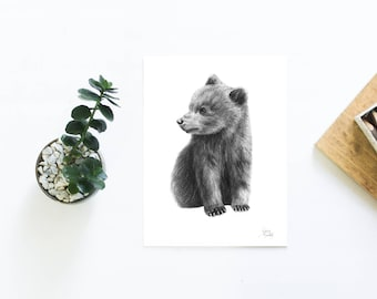 Bear Cub Charcoal Drawing Art Print Hand Drawn Baby Bear Gifts for Him Gifts for Her Nursery Art Original Hand Drawn Bear Cub Artwork