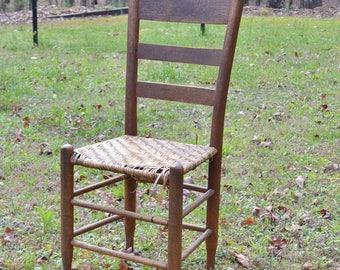 Vintage Wooden Ladder Back Chair Woven Seat Rustic Primitive Seating Porch Decor PanchosPorch