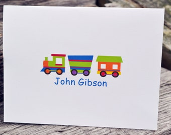 Boys Personalized Note Cards for Thank You Notes Train Theme