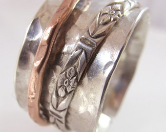 Forged Sterling Silver  and Copper Anticlastic Spinning Ring MADE TO ORDER