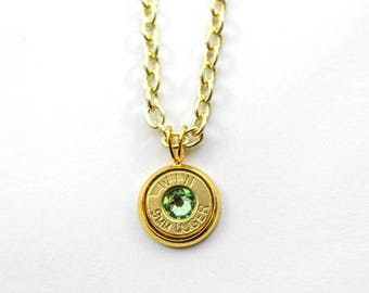 Peridot & Gold Dainty Bullet Charm Necklace