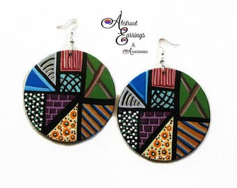 African Hand Painted Wood Earrings, Big Colorful Bold Earrings, Afrocentric Natural Hair Earrings Jewelry, Abstract Earrings, Free Shipping