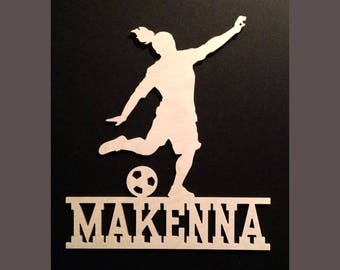 Girls Soccer Wall Door Hanging Personalized Name Wood Sign