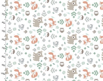 Forest Friends on White from 3 Wishes Fabric's Little Forest Collection