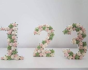 wedding table numbers, floral table numbers, rose table numbers, vintage style wedding decor, table numbers