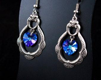 Ornate hoop earrings with Heliotrope Swarovski Hearts - Romantic Jewellery
