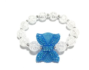 Toddler or Girls Small Beaded Blue Bow Bracelet - Blue and White Bracelet - Mermaid Bow Bracelet - Beach Bracelet - Mini Bow Beaded Bracelet