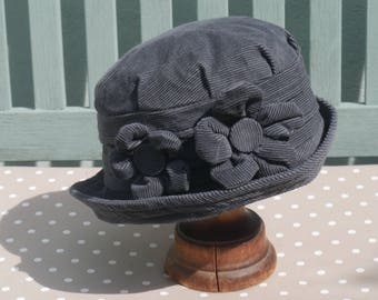 Pewter grey homegrown flower cloche hat