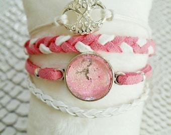 """jewel forever"" bracelet MULTISTRAND pink and white"