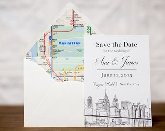 New York City Skyline Wedding Save the Date