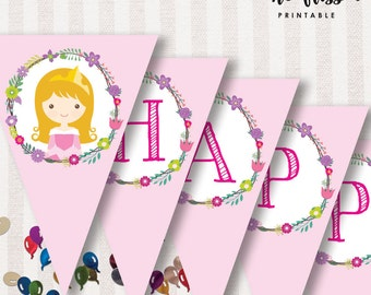 Princess Aurora Flag Bunting | Flag Banner | Decorations | Happy Birthday | Instant Download
