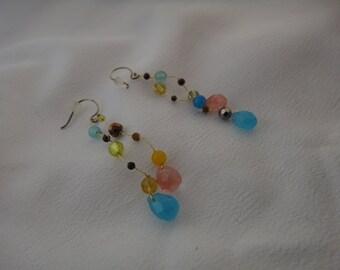Vintage pair of multicolor earrings dangle for pierced ears