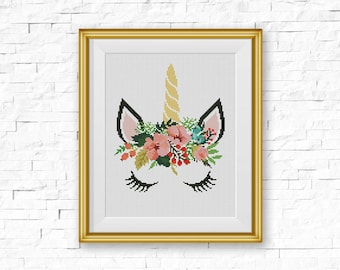 BOGO FREE! Unicorn Cross Stitch Pattern, Floral Unicorn, Flowers Silhouette Counted xStitch, Modern Home Decor, PDF Instant Download #046-10