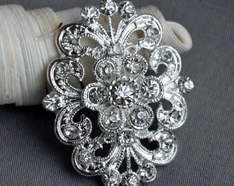 5 Rhinestone Button Embellishment Pearl Crystal Wedding Brooch Bouquet Invitation Cake Decoration Hair Comb Clip BT394