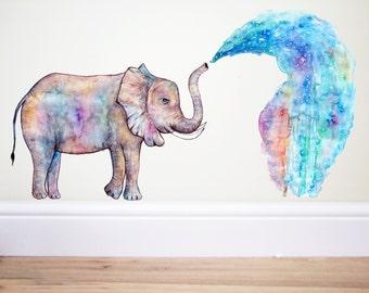 Elephant Rainbow splash,Elephant wall decal,Elephant sticker,Rainbow sticker,nursery decor,elephant art,safari nursery,indian elephant,Art