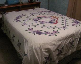 Wedding Bouquet quilt top in purples