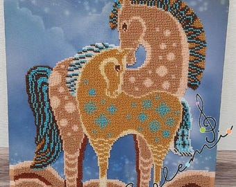 Zebra picture embroidered with Czech beads