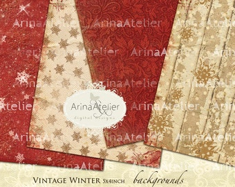Vintage Winter Backgrounds - Digital Cards - Vintage Collage Images - Winter Digital Images - Scrapbooking Digital - Digital Collage Papers