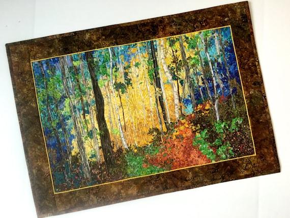 Art Quilt Birch Tree Sunrise Confetti Fiber Art Quilted Wall