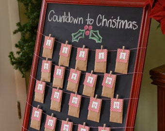 Countdown to Christmas Printable Advent Calendar Numbers