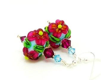 Hot Pink Blue Earrings, Lampwork Earrings, Glass Earrings, Floral Earrings, Glass Bead Earrings, Flower Earrings, Lampwork Jewelry