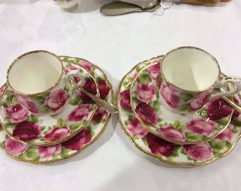 """1x Tea cup and saucer and cake plate Royal Albert """"Old English Rose"""""""