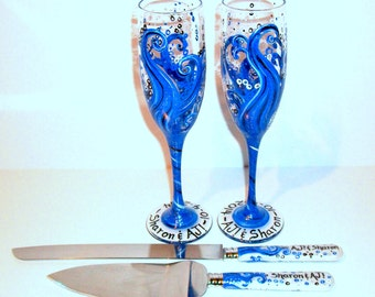 Ocean Blue Waves 4 Piece Wedding Set Cake Knife & Server Set With 2 Hand Painted Champagne Flutes Deep Blues and Dark Blue, Silver Accents
