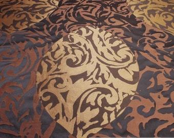 Fabric Trevira® CS jacquard leaf black brown not flammable