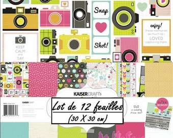 "Set of 12 leaves theme ""HAPPY SNAPS"" 30 X 30 cm scrapbooking (réf.210) *."