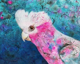 Pink and Grey - Michelle Gilks galah bird Australian art print