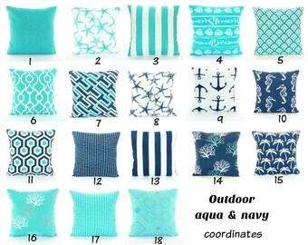 Aqua Navy OUTDOOR Throw Pillow COVERS Nautical Beach Decor Navy Aqua Coastal Pillow All SIZES Outdoor Patio Cottage Pillow Couch Pillow