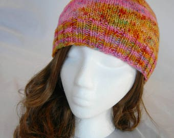 Psychedelic speckle beanie hand knit merino beanie