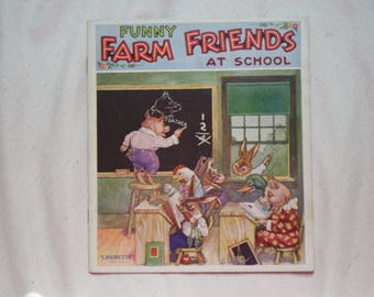Funny Farm Friends at School | Linenette Book | Cloth Book | Vintage Book | No. 456 | Color Illustrations | 1938