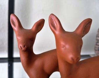 Vintage Pair of Terra Cotta Pottery Deer Figurines - Germany