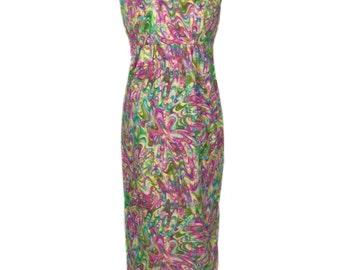 vintage 1960s water marble print dress / cotton / psychedelic tie dye / novelty print dress / women's vintage dress / size 14