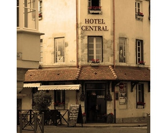 """Fine Art Sepia Travel Photography of French Scene - """"Hotel Central in Beaune"""""""