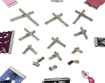 Platinum Silver Ribbon Clamps - Ribbon Crimps in Assorted Sizes - Artisan Series
