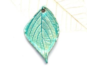 Ceramic leaf pendant ~ raku pendant, handmade clay leaves, raku leaves, jewellery making, make your own, turquoise leaf pendant