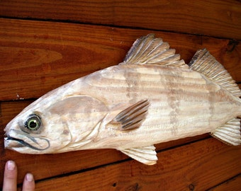 "White Seabass 32"" wood carving saltwater fish chainsaw sculpture seaside decor wall mount taxidermy coastal living beach house art"