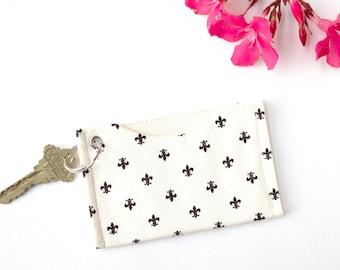 Minimalist Credit Card Holder, Slim Wallet, Card Case Wallet, ID Holder Keychain Wallet, Fleur de LIs Card Sleeve Wallet, Metro Card Holder