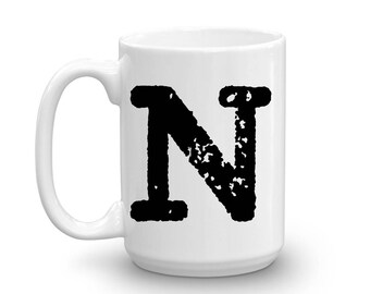 Initial Mug - Letter N - 15oz Ceramic Cup - Secretary Gift Mug - Right-Handed or Left-Handed Mug - Office Mug - Co-Worker Mug