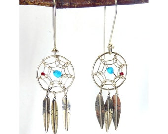 Sterling Silver Dream Catcher & Feather Pendants Earrings, Coral and Turquoise Beads