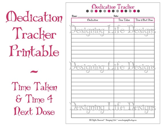 Medicine Tracker Printable Vitamin Log Instant Download